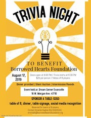 Trivia Night Saturday will support the Borrowed Hearts Foundation.
