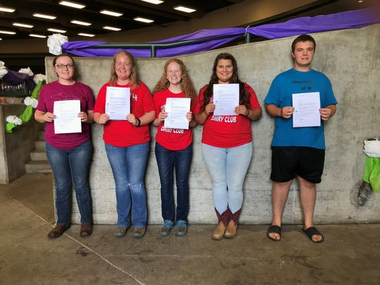 The top five interviewees were announced during the State 4-H Dairy Banquet on July 18. From left, Hope Shilling, Madison Halfman, Adalee Thelen, Kassidy Thelen and Joshua Tripp.