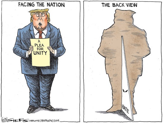 Trump's two sides after shootings.