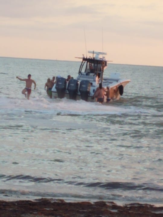 The case of a New Jersey woman who suffered fatal head injuries after she was hit by the propellor of a boat piloted by her husband off Fort Myers Beach is being reviewed by the State Attorney's Office. The photo, from FWC case files, shows the boat shortly after the woman was hurt.