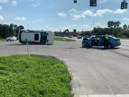 A two-car crash along Colonial Boulevard shortly before 10 a.m. Tuesday sent one person to the hospital.