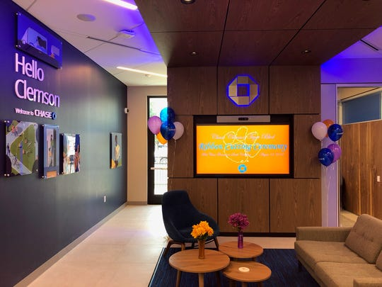 The Clemson branch is the first Chase Bank to open in South Carolina. J.P. Moran Chase said it plans to add up to 7 more retail branches in the Upstate over the next three years.