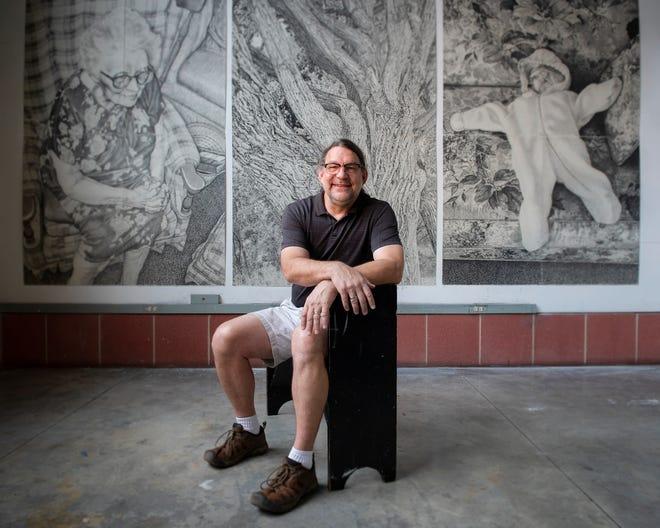 Local artist Gerry Wubben in a studio at Furman University's art department where he teaches part time.