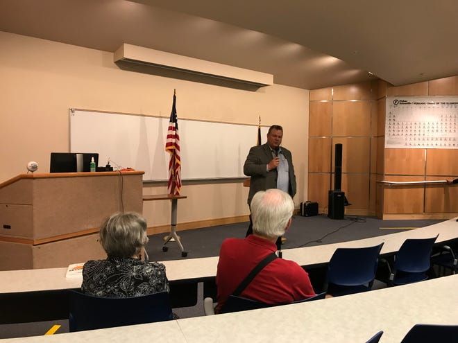 About 100 people turned out for a town hall meeting held by U.S. Sen. Jon Tester Tuesday at College of Great Falls-Montana State University.