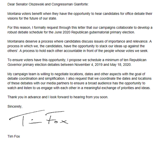 Above is a copy of the letter Tim Fox sent to fellow GOP gubernatorial candidates.