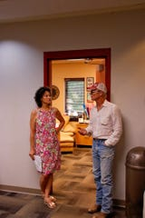 """Director Ed Harris speaks with Chouteau County 911 Communications Manager Kimberly Burdickat the Chouteau County Sheriff's Office about his visit to Fort Benton and plans for his upcoming film. The movie is based on """"The Ploughmen,"""" a novel by Montana author Kim Zupan."""