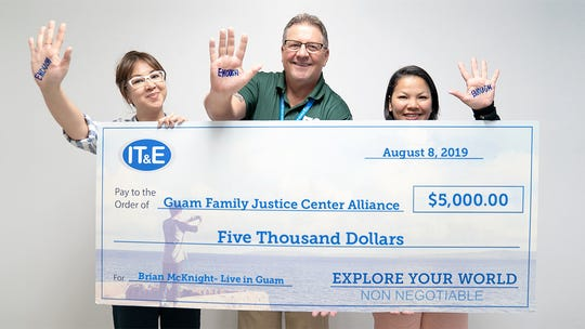 IT&E presented the Guam Family Justice Center Alliance with a donation for the Brian McKnight concert. Proceeds support the organization's mission to assist and provide services for victims of domestic violence, sexual assault and other forms of violence. Pictured from left: Rubyjane Buhain-Redila, brand and public relations manager; Jay Shedd, senior director of sales and marketing; and Monique Baza, vice president of the Guam Family Justice center Alliance.