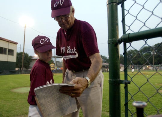 Coach George Pirtle goes over the line up with Dustin Huffman during a game at Atkinson Park Friday night, June 21, 2002.