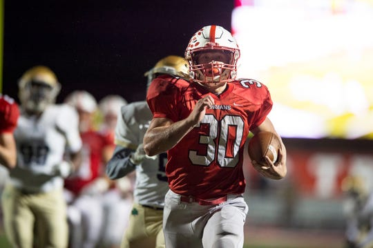 Center Grove running back Carson Steele (30) rushed for 2,270 yards and 29 touchdowns as a sophomore last season.