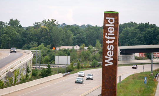 The Westfield totem sign on U.S. 31 North, Westfield, IN.