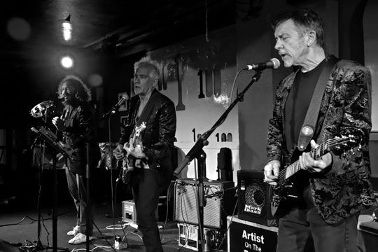 From left, Park Doing, Johnny Dowd and Mike Edmonson perform at the 100 Club in London in April 2019.