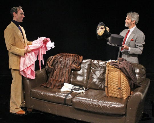"Nicholas Wilder, as Milo Tindle, and Greg Bostwick, as Andrew Wyke, star in Cortland Repertory Theatre's production of ""Sleuth,"" running Aug. 14-24."