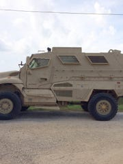 Three armored vehicles were part of a law enforcement response to a standoff in Wayne County, Mississippi, on Thursday, Aug. 8, 2019, after an armed man shot at drones and threatened to kill his neighbors and law enforcement.