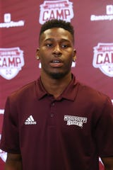 Mississippi State junior wide receiver JaVonta Payton speaks to the media on Saturday, August 10, 2019 at the Leo Seal Complex. Photo by Keith Warren