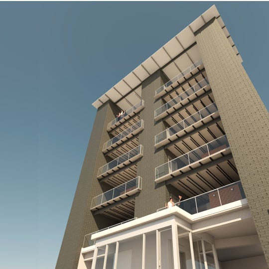 A rendering of the Knoxville Overlook, a residential building under construction at 608 West Hill Ave. in downtown Knoxville.