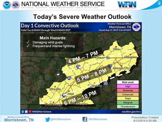 Potentially severe thunderstorms are expected in Knoxville and surrounding areas, beginning this afternoon.