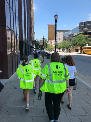 A walking audit of downtown is conducted for the Complete Streets for Louisville Coaltion.
