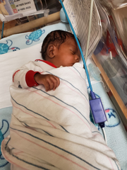 Ty'Shawn Garvin, pictured July 31, 2019, was born along with a twin sister at University of Louisville Hospital in June. The boy's father, Tyrese Garvin, died that same month in the same hospital where his twins were born after he was shot.