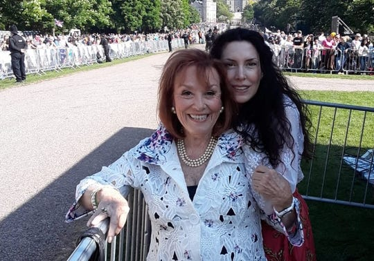 Gigi Perreau with daughter Gina Gallo near Windsor Castle in 2018 for the royal wedding of Perreau's former student Meghan Markle.