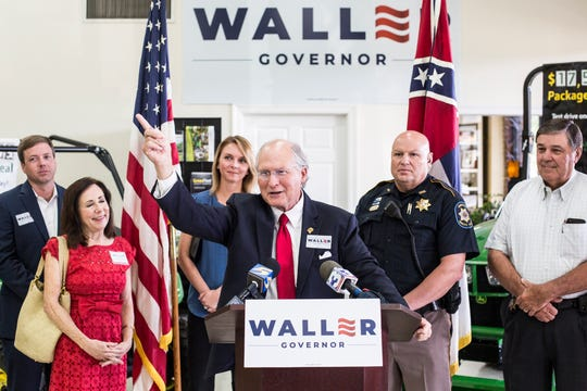 William Lowe Waller Jr. speaks during a press conference at Wade Incorporated in Hernando on Tuesday after Representative Robert Foster announced his endorsement of Waller for Governor of Mississippi in the 2019 election, August 13, 2019.