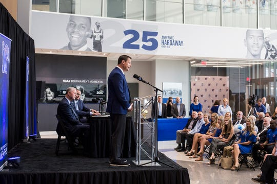New Memphis athletic director Laird Veatch speaks during a press conference at Laurie-Walton Family Basketball Center on Tuesday, August 13, 2019.