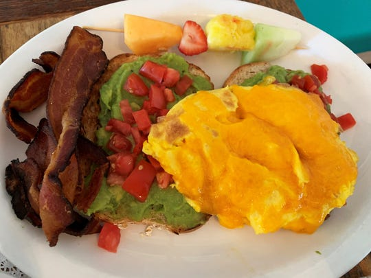 Avocado toast, with scrambled eggs and bacon from Doreen's Cup of Joe, Marco Island.