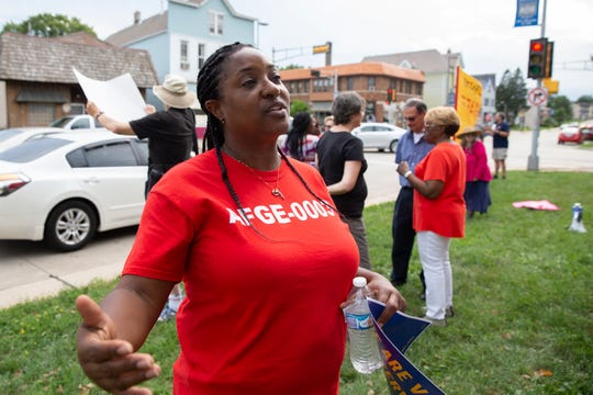 Tamekio Davis was among the group protesting employee contract negotiations at the VA Medical Center Tuesday.