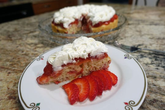 The finished shortcake is cut into wedges for serving.