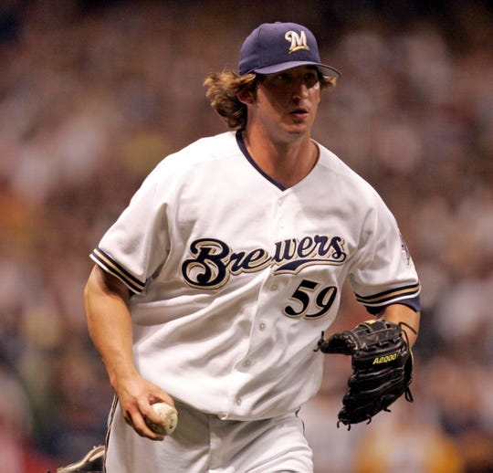 Brewer pitcher Derrick Turnbow scores the last out to save the game in the 9th during the Milwaukee Brewers-New York Yankees baseball game at Miller Park, Tuesday, June 7, 2005.