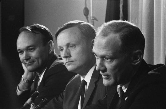 """Apollo 11 astronauts (from left) Michael Collins, Neil Armstrong and Edwin """"Buzz"""" Aldrin were honored by Marquette University on Nov. 8, 1969."""
