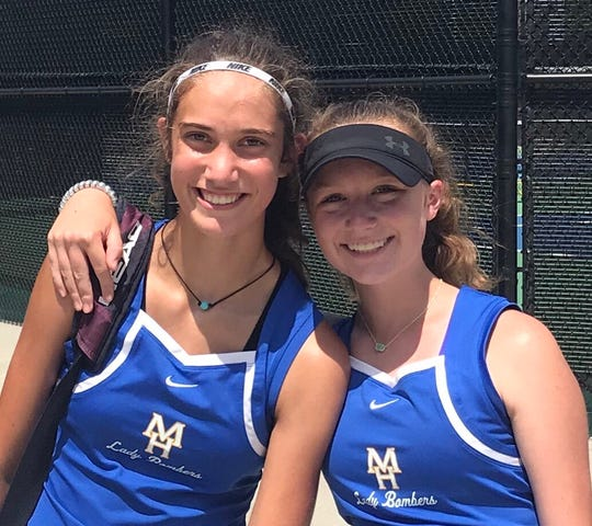 Mountain Home's doubles team of Macie Heide (left) and Sarah Godfrey won both of their matches during a win over Conway on Monday.