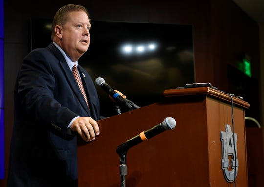 Andy Burcham, the new Voice of the Auburn Tigers, is introduced on Monday, Aug. 12, 2019 in Auburn, Ala.