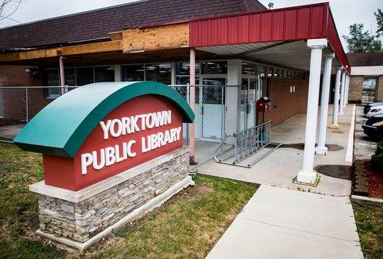 The Yorktown Public Library Tuesday morning. The library is undergoing a $1.8 million expansion that includes remodeling of the interior, new bathrooms and a larger parking area.