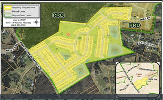 The proposed Derby Run subdivision (in yellow) would include 204 homes between Rocky Fork Almaville Road and Inez Drive. The 66.8-acre property is near Stewarts Creek schools.