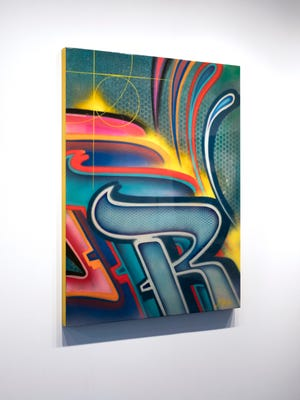 """Risk, """"'R' For Risk,"""" acrylic enamel, candy car paint, aerosol on canvas with clear car lacquer, 42"""" x 55."""""""