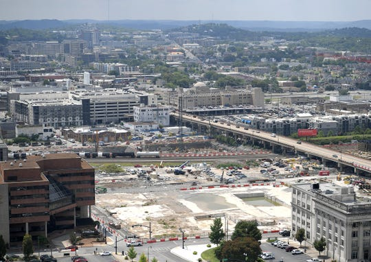 A view of Nashville Yards development from the 30th floor of Fifth & Broadway development on Wednesday, August 7, 2019.