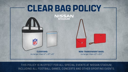 Here is a display of bags allowed inside NFL stadiums during the 2019 season