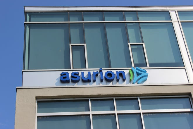 One of the offices of Asurion, a massive phone insurance corporation, is photographed in downtown Nashville on August 13, 2019.