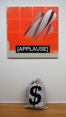 "Craig Drennen, ""ORANGE BANDIT (APPLAUSE,"" 2029, oil, alkyd on canvas, 40""x40""x3,"" canvas bag."