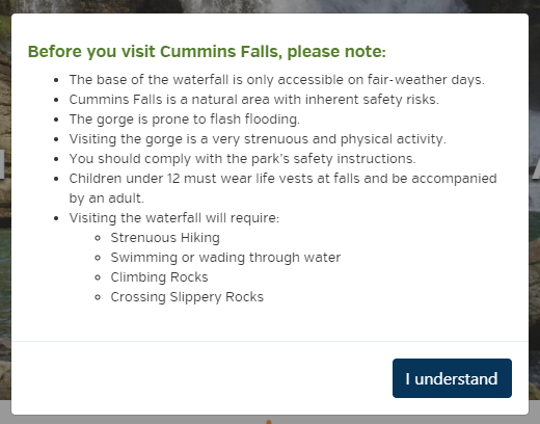 Cummins Falls website