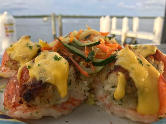 Crab stuffed shrimp ($24.99) at the Snook Inn on Marco Island.