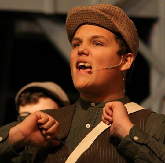 Braden Poling acts as the character Race in Newsies The Musical performed at Lakewood High School.