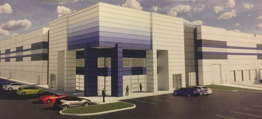 A rendering of the new 70 East Logistics Center, now under construction at Global Way and Mink Street in Etna Township.