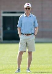 Jul 25, 2019; East Rutherford, NJ, USA; New York Giants president and chief executive Officer John Mara looks on during the first day of training camp at Quest Diagnostics Training Center.