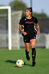 Rutgers' Chantelle Swaby plays against St. John's during an exhibition match on Monday, August 12, 2019, in Piscataway.