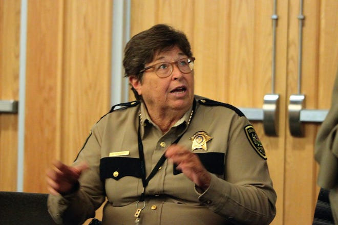 Doña Ana County  Sheriff Kim Stewart during a break in the middle of the Board of Commissioners meeting on Tuesday, August 13, 2019.