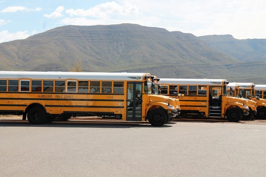 Some of the 29 new school buses Alamogordo Public Schools debuted for the new school year.  APS received a $2.6 million grant from the state Department of Public Education to purchase 29 2020 school buses.