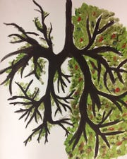 """""""Lungs"""" by Jakari McDonald of Kirtland Central High School is included in a show this weekend at the Encaustic Art Institute during the Santa Fe Indian Market."""