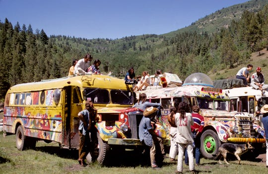 """The Great Bus Race Line Up Solstice Festival Tesuque Meadows Santa Fe Baldy June 1969"" will be one of the images included in a Chautauqua presentation by Roberta Price Aug. 16 at San Juan College."