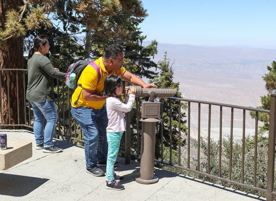 Visitors to the Palm Springs Aerial Tramway take in the view from the top of Mt. San Jacinto, August 9, 2019.